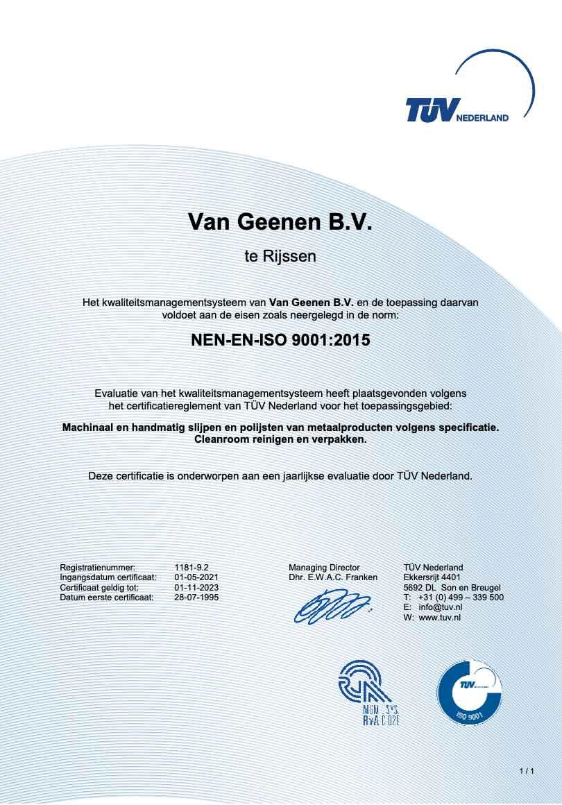 ISO 9001 certificate Van Geenen