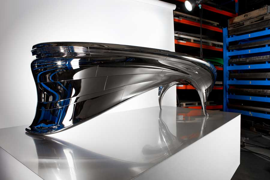 Mirror polished stainless steel design table